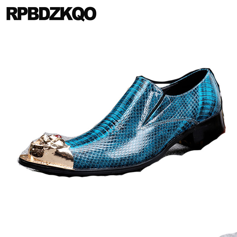 British Men/'s Metal Pointy Toe Snakeskin Pattern Formal Dress Slip On Shoes Size
