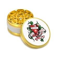 Gold Herb Grinder 50mm 3 Layer Metal  Tobacco Smoke Crusher Smoking Pipe Accessories