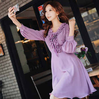 Dabuwawa Autumn Purple Ruffles V-Neck Sweet Midi Dress for Girls Woman Lady Long Puff Sleeve Romantic Party Dress DN1ADR020