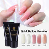 MSHARE Polygel Crystal Gel Quick Building Poly Gel Nails UV LED Hard Gel Acrylic Builder Clear Pink Tube White 30g