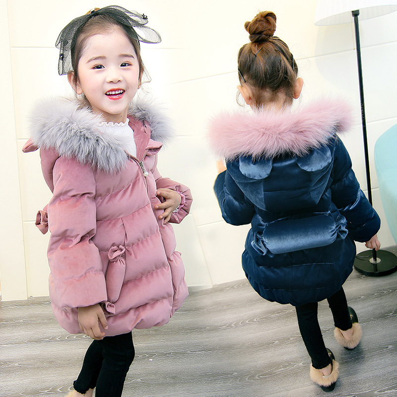 Girls Winter Gold Velvet Fabric Jackets Raccoon Fur Collar Cotton Padded Hooded Coats 2018 Long Parkas Thicken Warm Snowsuits цена