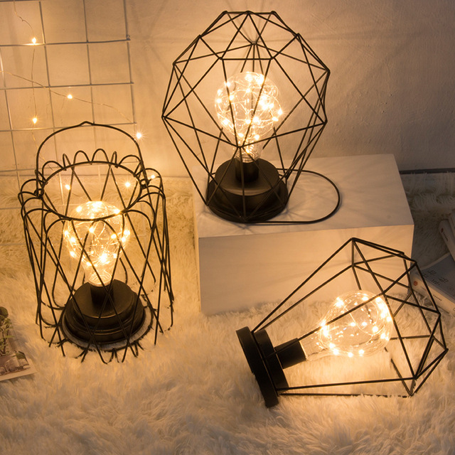 Excellent Led Creative Geometric Small Night Light Iron Copper Wire Edrooom Wiring Database Obenzyuccorg
