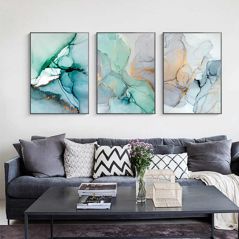 Green Blue Marble Texture Abstract Canvas Poster Nordic Minimalist Wall Art Print Painting Modern Living Room Decoration Picture