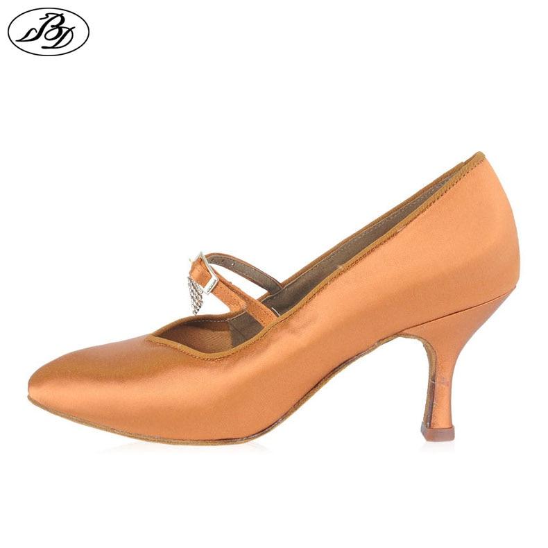 где купить Women Standard Dance Shoes BD Dance139 CRYSTAL Ladies Ballroom Dance Shoe High Heel Tan Satin Waltz Tango Foxtrot Quickstep по лучшей цене