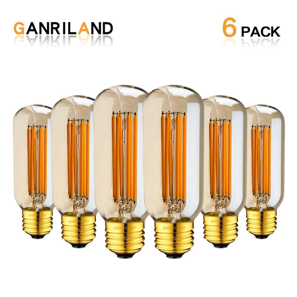 цены на Gold Tint,Edison T45 Tubular LED Long Filament Bulb,6W 2200K,E26 E27 Base,Decorative Pendant Lamp,Dimmable