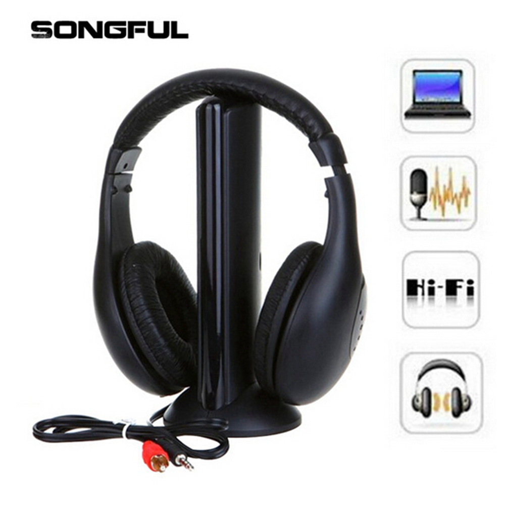 5 in 1 Wireless Audio Headphone Stereo Headset with Mic Microphone Headband Earphone Transmitter Receiver for TV FM Radio PC DVD stereo 1 5 lcd 2 mode switching radio fm transmitter w microphone silver