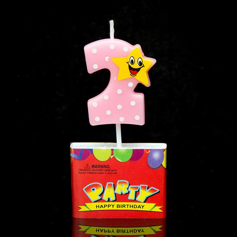 Pink Number Birthday Candles With Star 0 1 2 3 4 5 6 7 8 9 Kid Adult For Cake Party Supplies Decor In Decorating