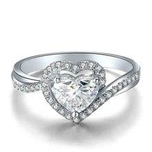 Heart Cut Natural Diamond Ring for Women 18K White Gold 0.40+0.30ct Diamond Handmade Wedding Engagement Jewelry