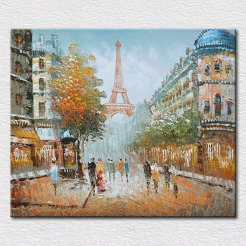 Home decor oil painting canvas eiffel tower picture quality palette knife oil painting on canvas for living room decor