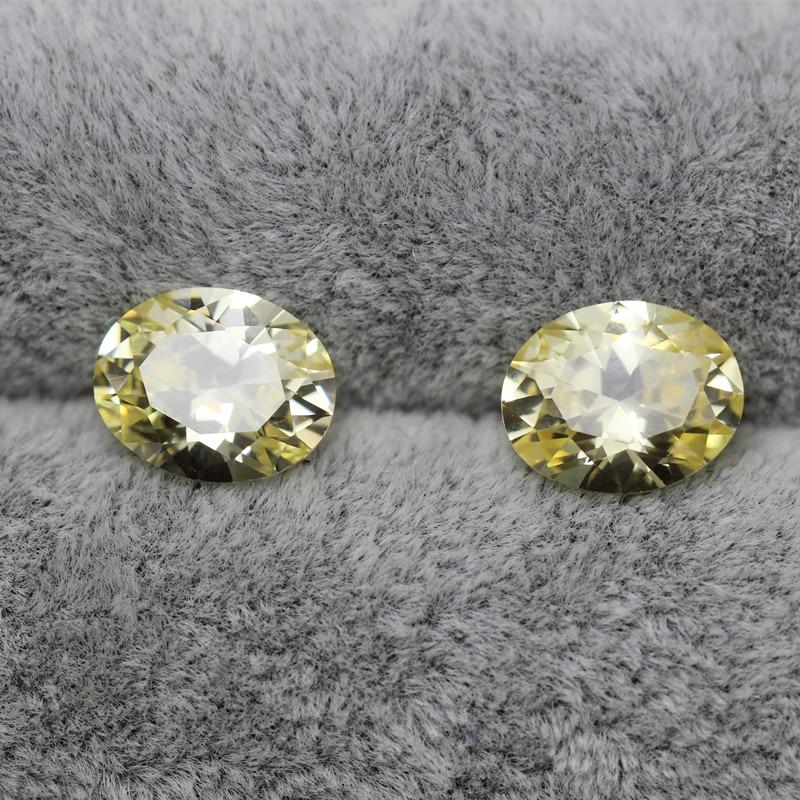 oval shape light yellow cubic zirconia beads loose fancy vivid ...