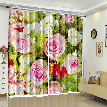Customize 3D Blackout Window Curtain Pink Rose Flower Pattern Thicken Washable Polyester Wedding Bedroom Curtain for Living Room