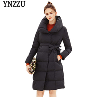 YNZZU 2018 New Spring Womens Down Jacket Elegant Slim With Sashes White Duck Down Coat Parka