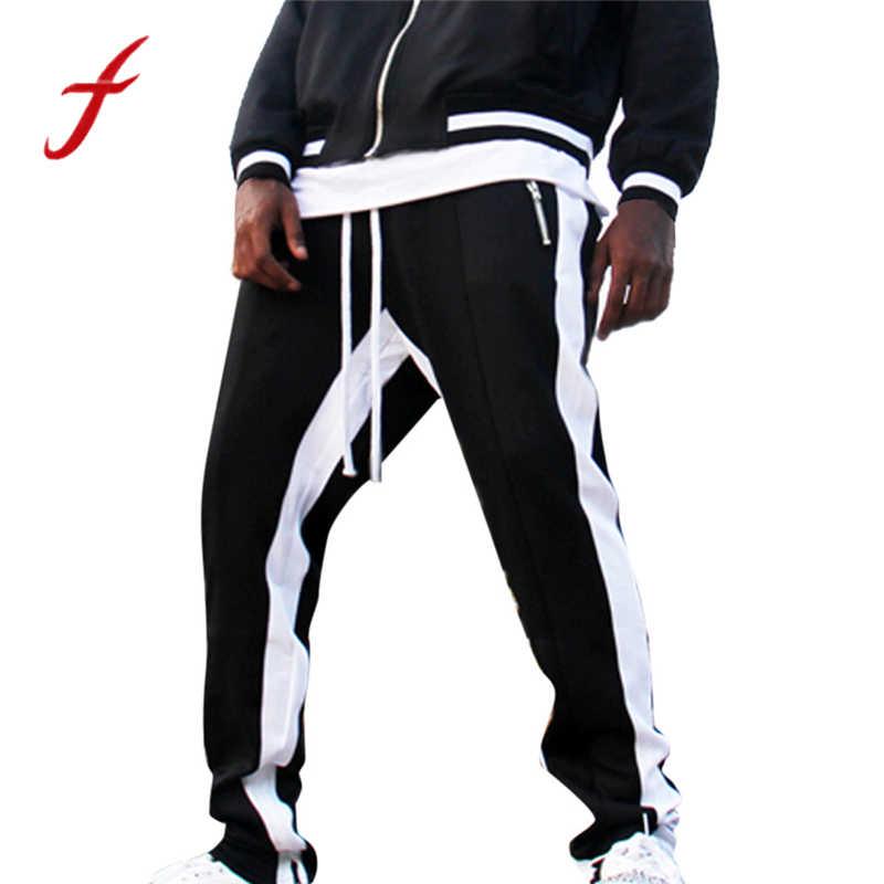 2020 moda sonbahar pantolon sahte fermuarlar cep erkek çizgili baskılı rahat iş pantolonu pantolon yan şerit pantolon ropa hombre