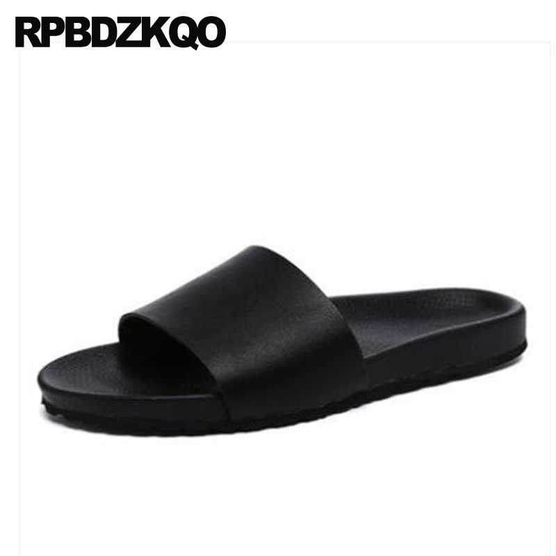 c0337bbbb59a Slippers Slip On Soft Slides White Mens Sandals 2018 Summer Outdoor Fashion  Water Shoes Beach Waterproof Leather Men Black Flat