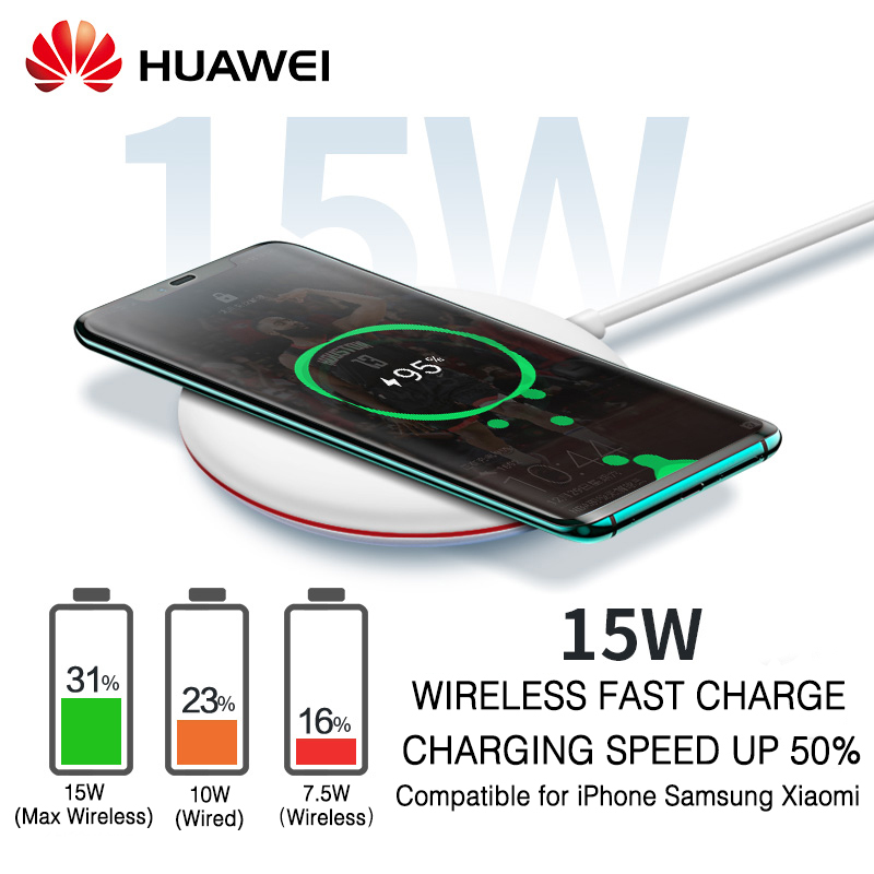Chargeur sans fil HUAWEI QI Original Type C CP60 WPC intelligent 15 W Max HUAWEI Mate 20 Pro RS Compatible pour IPhone Samsung Xiaomi