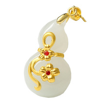 XinJiang Hetian Jade Gourd Pendant Drop Shipping Gold Jade Lucky Amulet FuLu Pendant Necklace For Women Men 24K Gold Jewelry