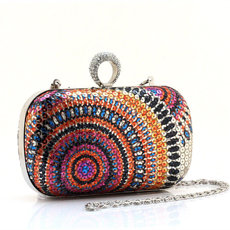 National Style Sequins Knucklebox Evening Bags Fashion Women Purse and Handbags font b Party b font