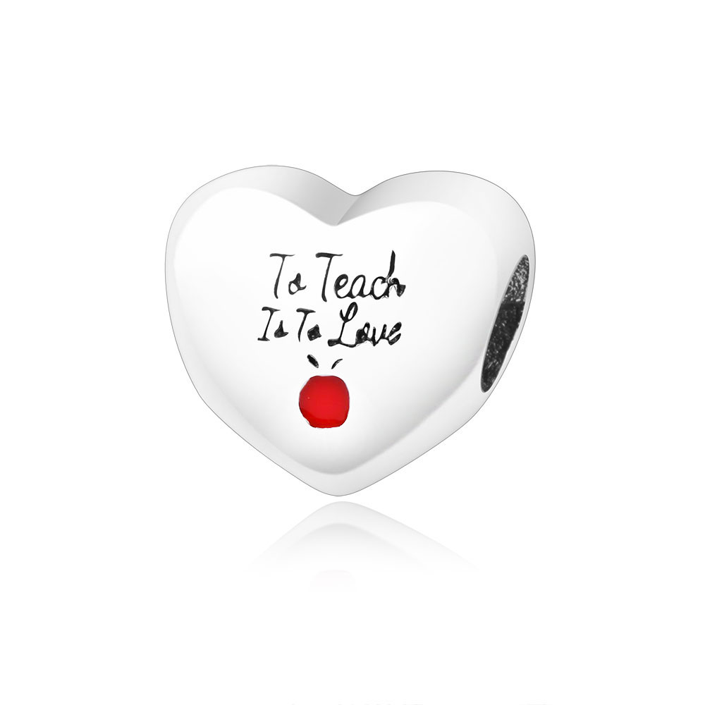 Love to Teach Bead Charms Fit Origonsl Pandora Charms Bracelet Necklace 925 Sterling Silver Fashion Jewelry DIY Cherry Berloque