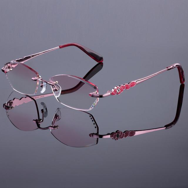 Marco sin rebordes titanium de la aleación de las mujeres de oro rosa de las mujeres marco óptico gafas sin montura de diamante de corte de corte con gradiente de lentes de tinte
