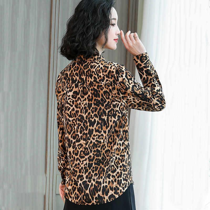 Ih женская шифоновая блуза с длинным рукавом и леопардовым принтом, отложной воротник, Офисная Женская двойная Повседневная рубашка с карманом, весна-лето 2019, Новинка