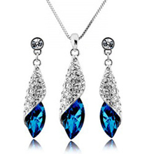 Free Shipping Hotselling Wholesale  GP gold Austrian Crystal Sunshine Drop fashion Jewelry Sets Necklace Earring