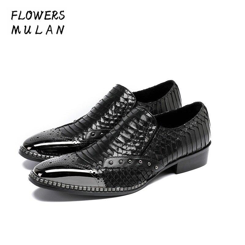 Embossed Pattern Leather Calzado de Hombre Metal Toe Slip On Dress Shoes Chunky Heel Male Party Wedding Footwear Male Zapatos
