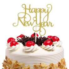 Happy New Year Cake Toppers Flags Gillter Topper Kids Birthday Wedding Baby Shower Party Baking DIY Xmas Decor