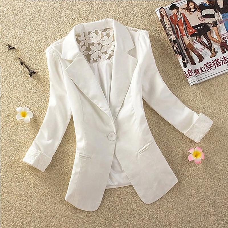 1 Pc Frühling Frauen Blazer Jacken Kleine Spitze Patchework Anzug Jacke Candy Farbe Lange Hülse Dünne Klage Taste Frauen Jacke