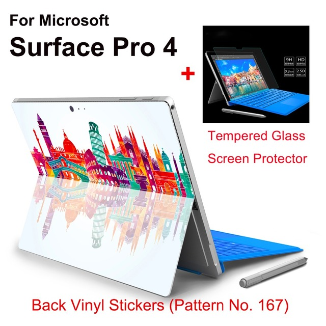 Hot Sale For Surface Pro 4 Stickers Tablet Vinyl Decal Netbook Architecture Skin+Explosion-proof Tempered Glass Screen Protector