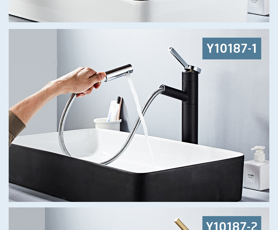 HTB1ywi9V9zqK1RjSZPcq6zTepXaR - FRAP Basin Faucet Pull Out Bathroom Sink Faucet Single Handle Waterfall Bathroom faucet