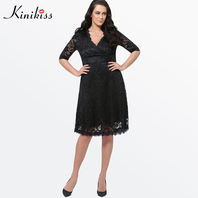 Kinikiss 2017 Fashion Black Plus Size Lace Dress Sexy Women Hollow Out Party Dress Summer Elegant Women Large Wrap Dress Vintage