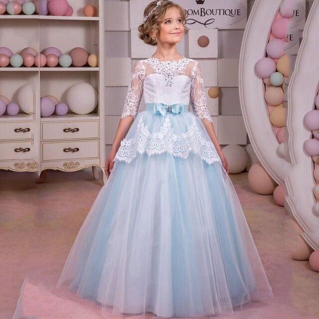 Plus Princesse Bleu Jolies Dentelle Fille De Clair Arc Mariage Robes 6qw1S4C