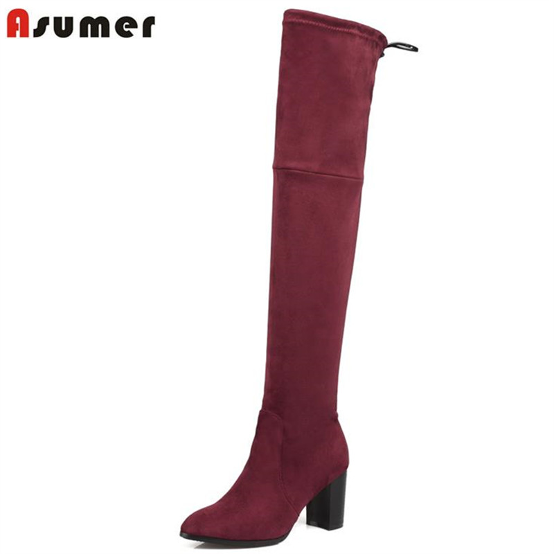 ASUMER Women Boots Heels Over-The-Knee Autumn Fashion Flock Nubuck Ribbons Round-Toe