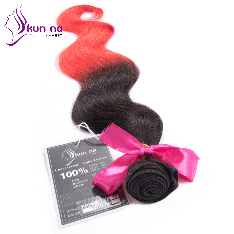 Fashion Ombre color 1B Red Human font b hair b font Weave Bundles In stock Factory