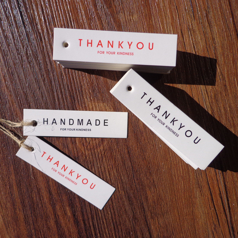 100PCS Gift Tags Party Wedding Message Tag Hang Cards Label Thank You Handmade Card Favor