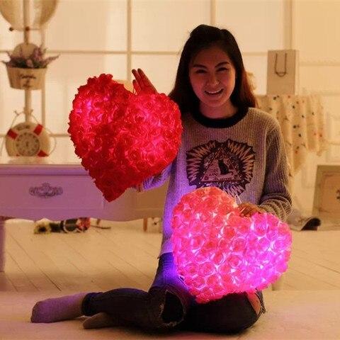 frete gratis moda petalas de rosa luminosa colorido luz travesseiro presente dos namorados para meninas