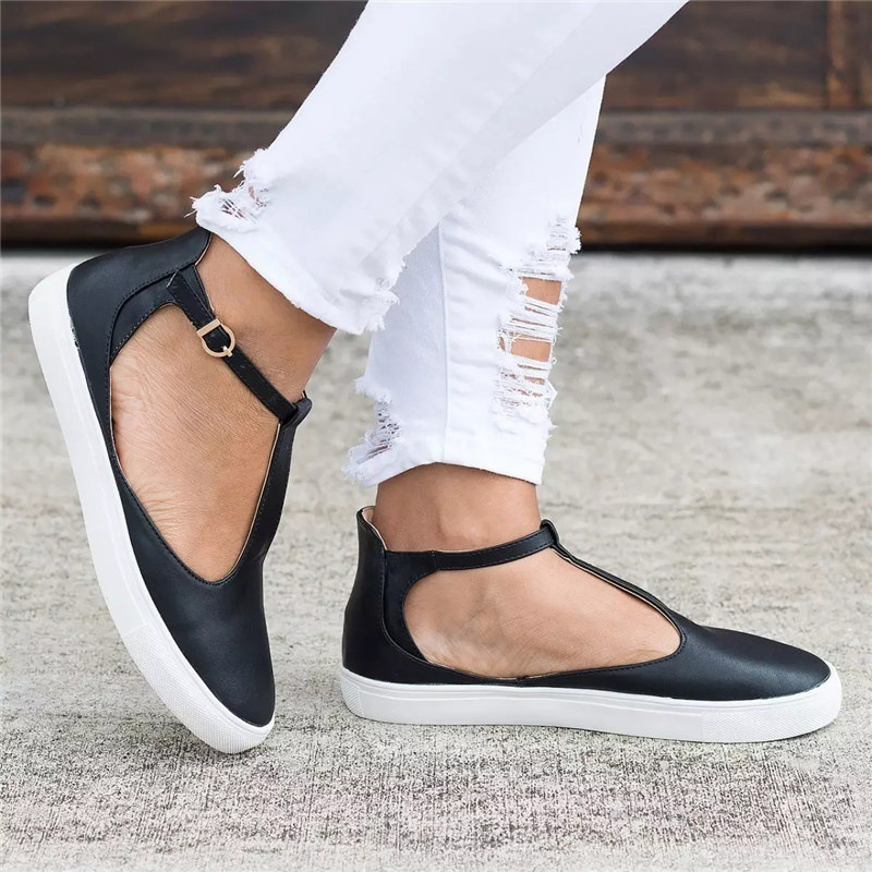 2019 New design Flat bottom loafers  large size 43 women's shoes Mary Janes women casual flats freeshipping(China)
