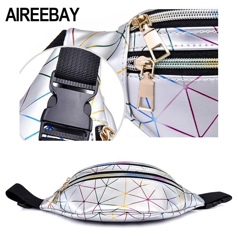 AIREEBAY Holographic Waist Bags Women Silver Fanny Pack Female Belt Bag Black Geometric Waist Packs Laser Chest Phone Pouch 6