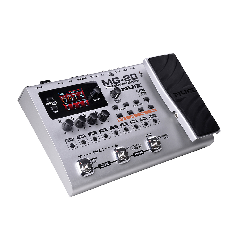 NUX MG-20 Guitar Modeling Processor Guitar Multi-effects Processor 60 Effect Models 36 User Presets 36 Factory Presets