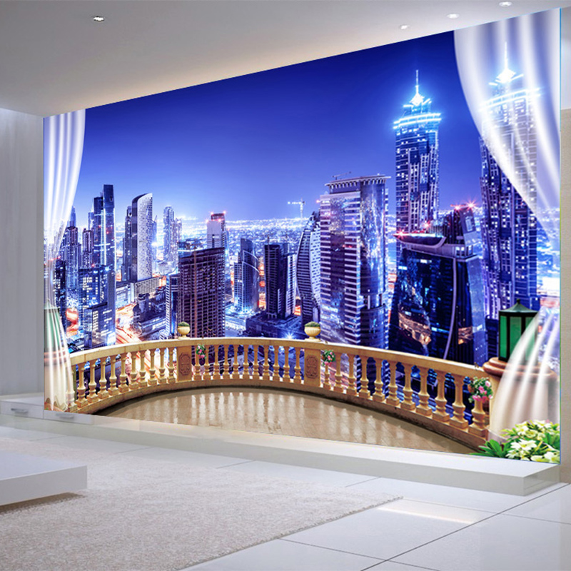 Photo Wallpapers 3D City Building Night Landscape Wall Cloth Living Room TV Sofa Background Home Decor 3D Wall Mural Painting