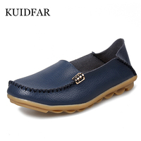 Women Shoes Woman Flats Genuine Leather Round Toe Slip On Loafers Ladies Flat Shoes Skid Proof