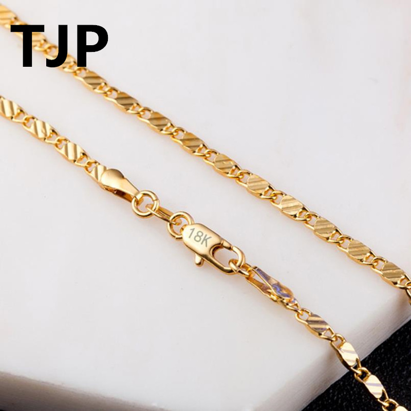 TJP 2018 Hot Sale Meteor shower Gold Men Choker Necklace 925 Sterling Silver Women Chains Necklace Friend Lover Gift