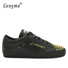 CANGMA Luxury Brand Sneakers Shoes Durable Men's Rivets Lace Up Casual Shoes For Man Black Genuine Leather Flats Male Footwear