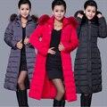 Mulheres Jaqueta de inverno 2016 de Alta Qualidade Mulheres Moda Inverno Longo Quente grossa Para Baixo Mulheres Jaqueta de Algodão Plus Size 5XL Para Baixo Parka