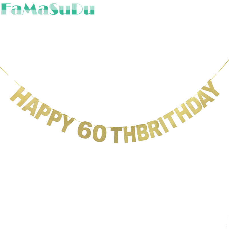 1set Happy 60th Birthday Banner Decoration Hanging Banners Favor Party DIY