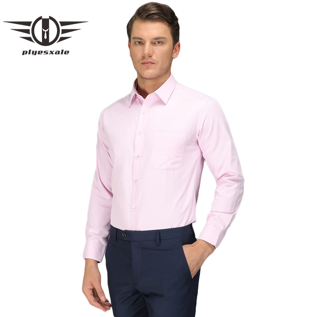 1aeec23d64e1 Plyesxale Light Blue Pink White Shirt Men 2018 Slim Fit Formal Shirts For Men  High Quality