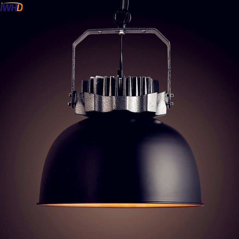 IWHD American Loft Style Industrial Lighting Fixtures Vintage Lamp Edison Pendant Lights Dinning Room Lampara Colgante ascelina led pendant lights loft style industrial lighting vintage hanglamp with lamp shade for living room e27 85 260v