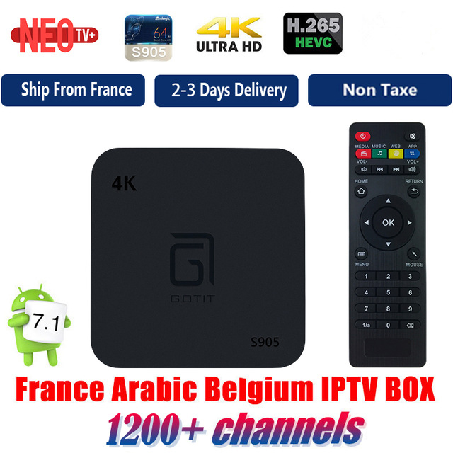 GOTIT Android TV Box with 1 Year 1200 Arabic French Belgium IPTV subscription football france Live