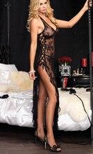 Quente Plus Size M L XL XXL XXXL XXXXL 5XL 6XL mulheres Sexy erotic lingerie Preto Vermelho Sleepwear pijama camisola vestido longo vestido