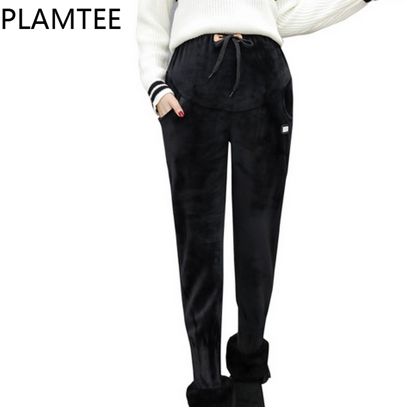 PLAMTEE Fashion Casual Warm Maternity Trousers Thick Adjustable Pregnancy Harem Pants 2019 Winter Clothes For Pregnant Women